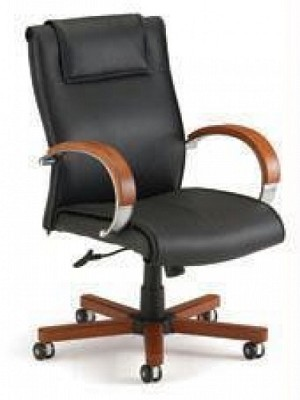Ofm 561-L Mid-Back Apex Executive Leather Chair With Wood Accents