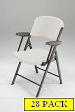 SO 28 PACK 5350 Lifetime Almond Folding Chairs with Arm Rests
