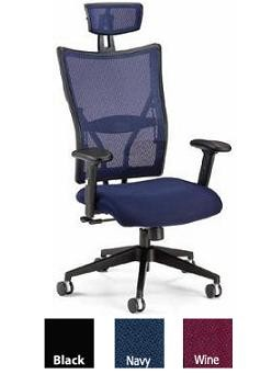 Ofm 590-F Executive Office Chair, Foam Molded Fabric Seat + Mesh Back