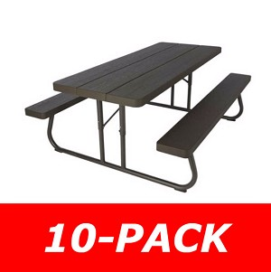Lifetime 860112 10 Pack 6-Foot Picnic Table (brown) with Volume Discount