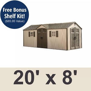 Lifetime Outdoor Storage Shed 60127 20x8 Dual Entry