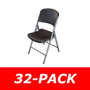 Lifetime Folding Chairs - 80061 Black Seat and Back - 32-Pack