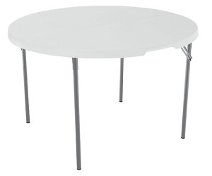 Lifetime Round Tables 280064 48-inch White Granite Fold-in-Half Table