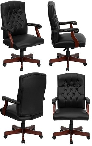 Executive Office Chair - 800L-Black Martha Washington Swivel Seat
