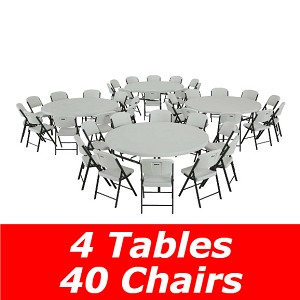 "80145 Lifetime 4 72"" Round Tables + 40 Chairs Package in White"