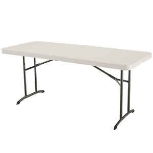 Lifetime Folding Table 80174 6-Foot Almond Fold-in-Half Table