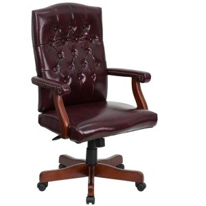 Executive Office 801V-BURGUNDY Martha Washington Vinyl Swivel Chair