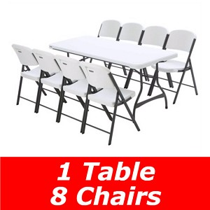 Lifetime 6 Ft Stacking Tables And Chairs Set (White Granite)
