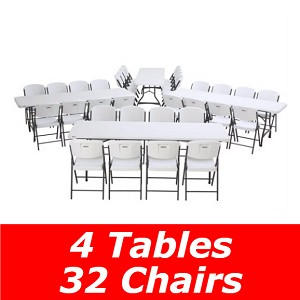 Lifetime Stacking Tables 80410 8' White Top 4 Pack and 32 Chairs