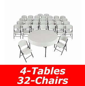 Lifetime Tables and Chairs Combo 80458 32 Chairs 4 60-inch Round Tables