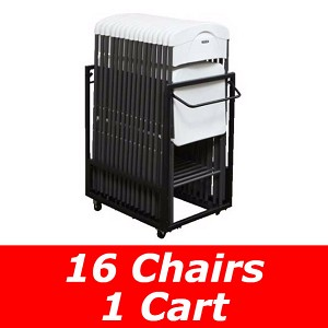 Lifetime Essential 16 Pack Chair Set and Cart Combo Set 80464