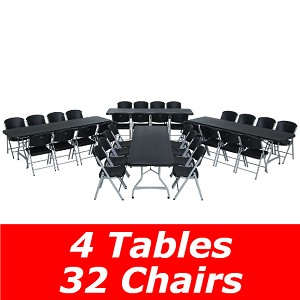 80486 Lifetime 8-Foot Stacking Table And Chair Combo (Black)