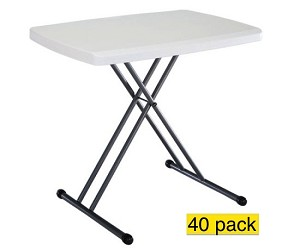 "40 Lifetime Personal Folding Tables 8241 White Adjustable 30"" Top"