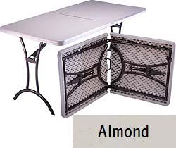 SO 8301 4 PACK Lifetime Accent 5 ft Almond Fold-In-Half Table