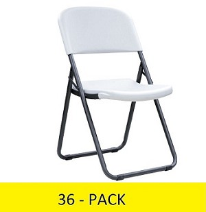 Lifetime Loop Leg Chairs 880155 Contoured Folding Chair White 36 Pack