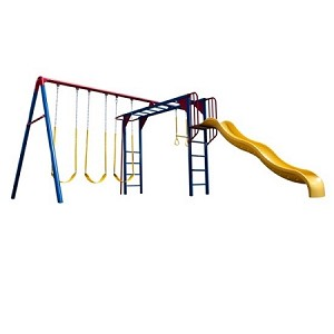 Lifetime Swing Sets 90177 Primary Color Monkey Bar Swing Set + Slide