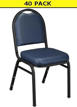 9204 (40 Pack Free Ship) Midnight Blue Vinyl Upholstered Stack Chair