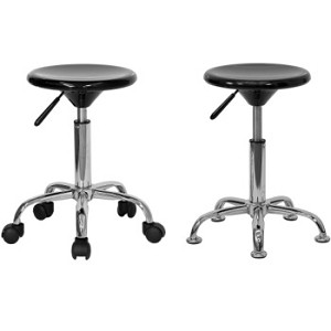 Plastic Stool - BT-131-GG Mobile or Stationary Stool with Chrome Base