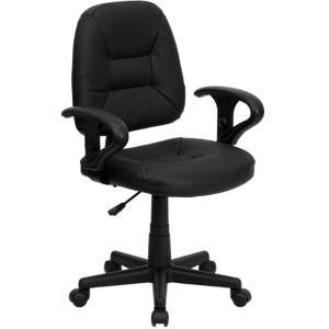 Leather Office Chairs - BT-682-BK-GG Mid-Back Task Chair with Arms