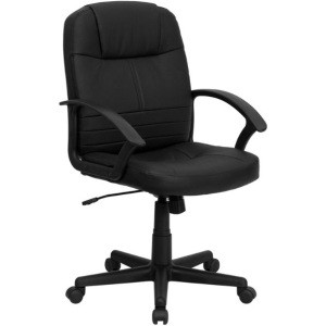 Leather Office BT-8075-BK-GG Black Mid-Back Swivel Seat Task Chair