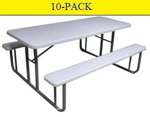 SO ATC Atlas 6' Blow-Molded Plastic Steel-Frame Picnic Tables 10-Pack