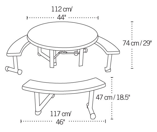 Lifetime Picnic Table Almond Round Top Swivel Benches - White round picnic table