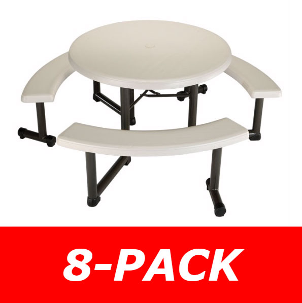 Lifetime Round Picnic Tables Inch Almond Top W Benches Pack - Round picnic table with benches