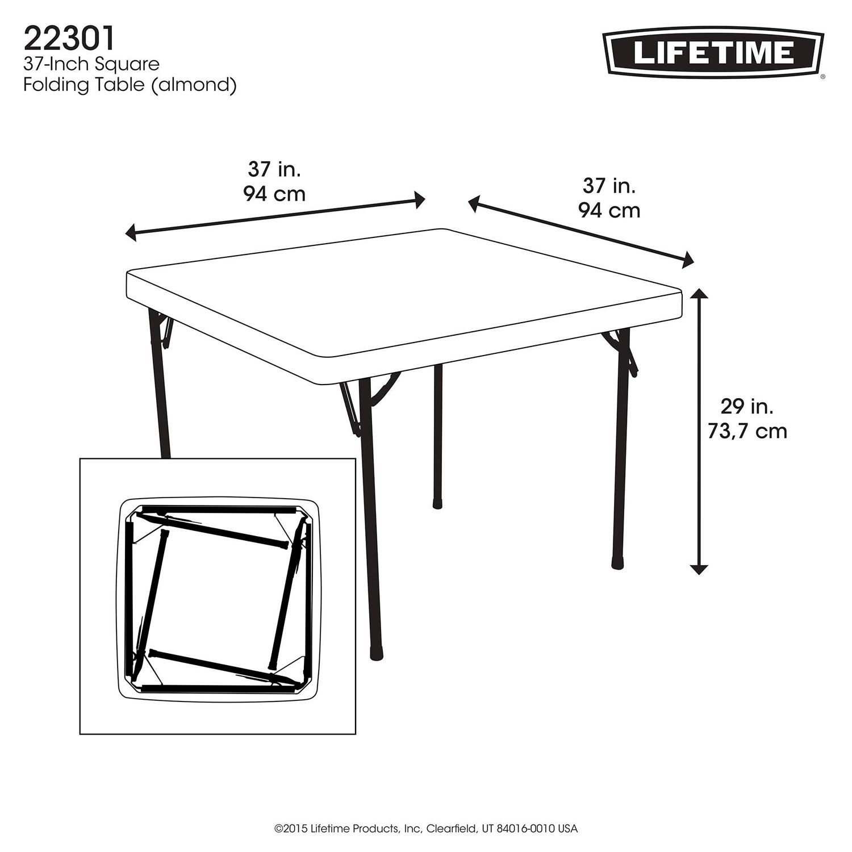 Lifetime 37 Square Folding Table Choice Image Table