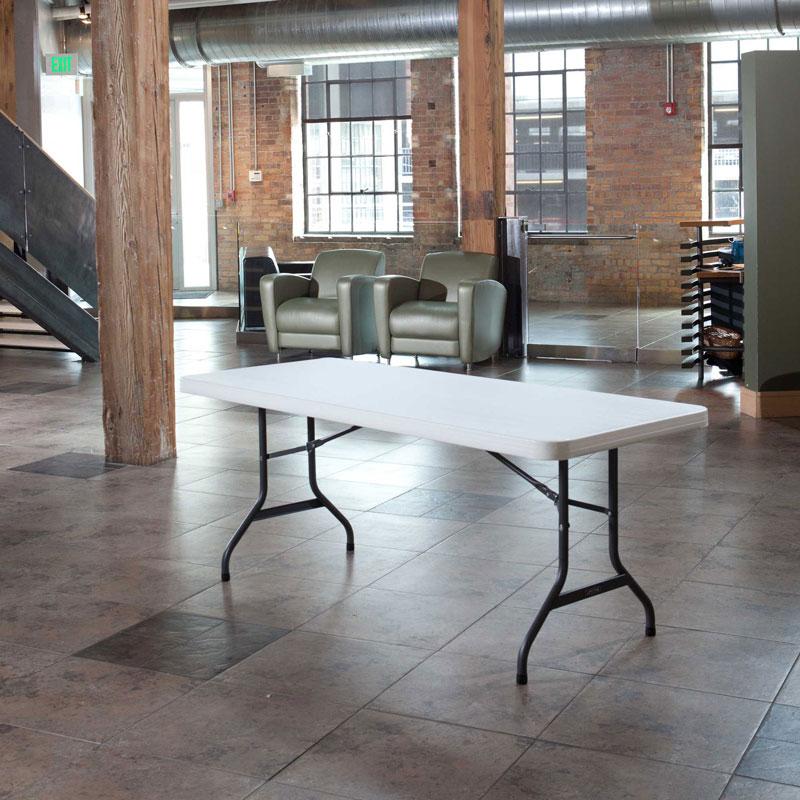 Lifetime Folding Table 22901 6 Ft White Granite Color 1