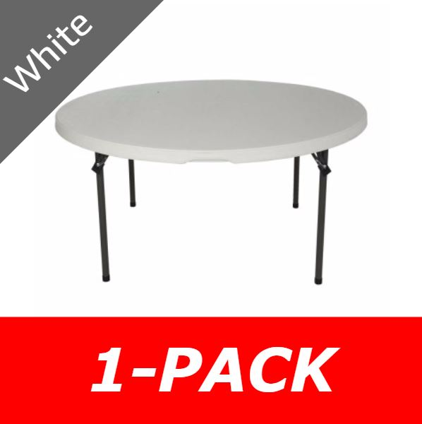 Lifetime Round Table 280301 5-Foot Stacking Table White Granite Top