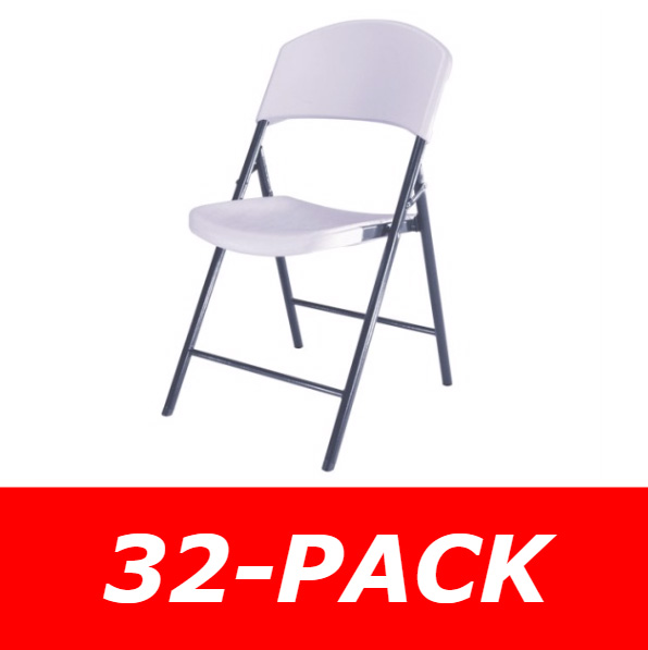 Lifetime Folding Chairs 2810 White Light Duty Commercial 32 Pack