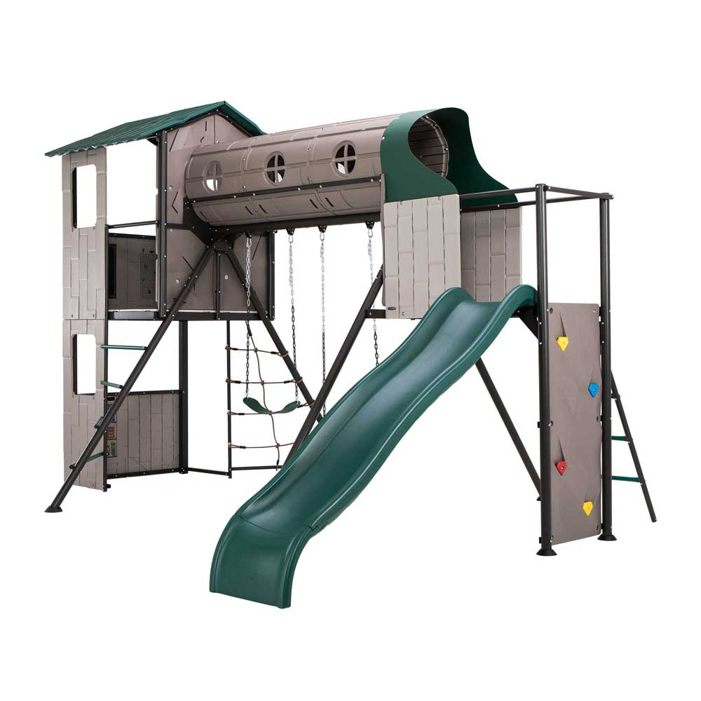Lifetime 290704 Swing Set With Slide And Clubhouse On Sale