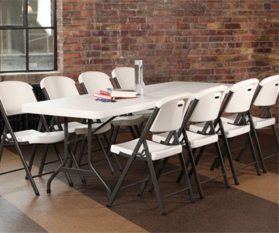 Lifetime 42984 Almond 8ft Folding Banquet Table 4 Pack On Sale