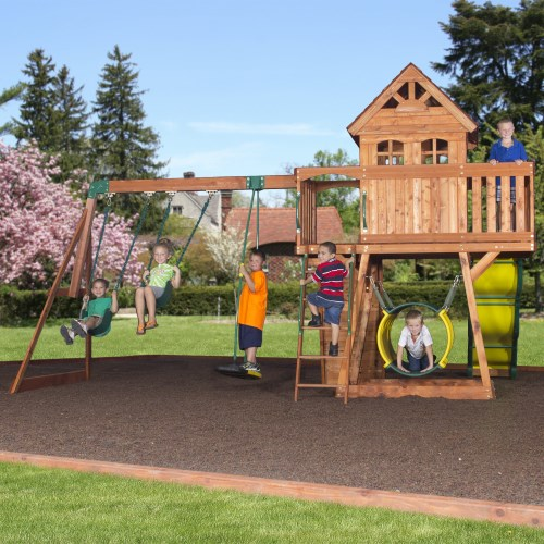 Backyard Discovery 30013com Cedar View Wooden Playground Play Set