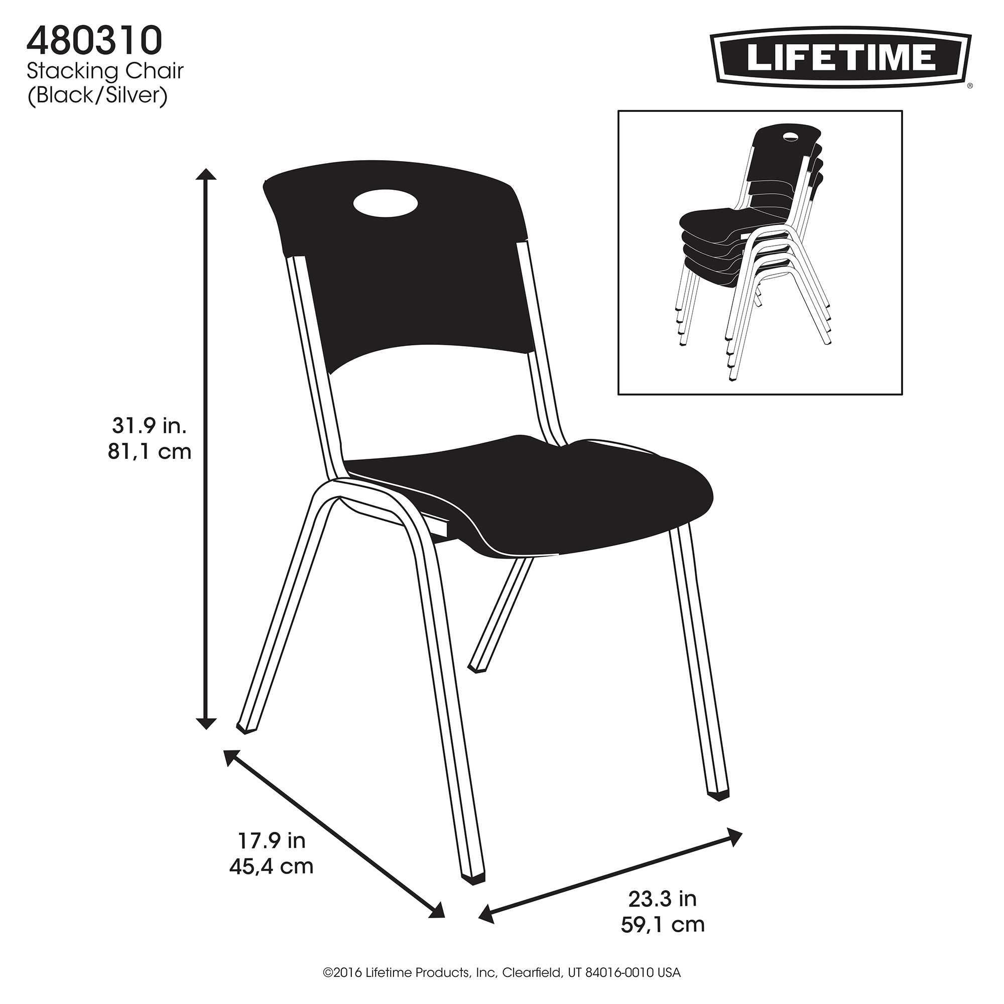 Lifetime Premium Black Stacking Chair 80310
