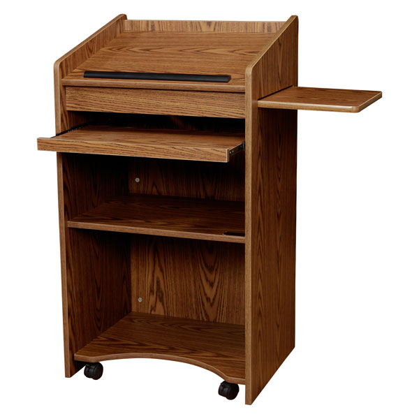 Oklahoma Sound 600 Floor Lectern / Presentation Cart, Slide Out Shelf