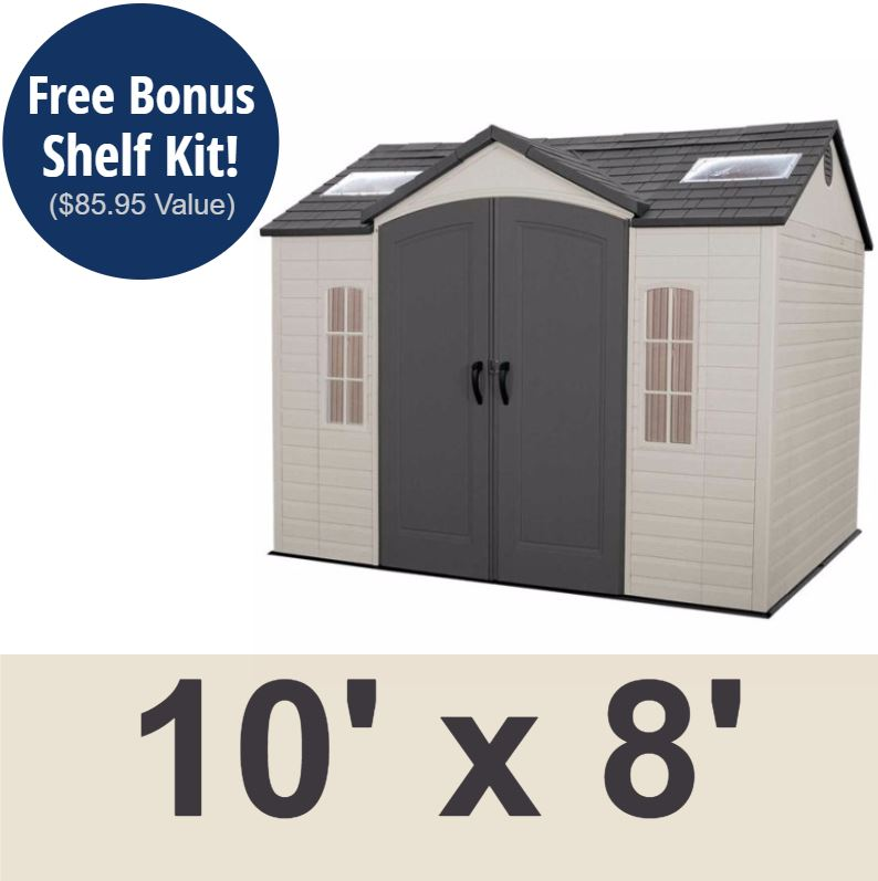 Lifetime 60005 garden shed 10 x 8 on sale with fast & free shipping.