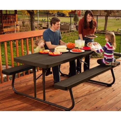 Lifetime 60228 Faux Wood Brown Color Picnic Table On Sale