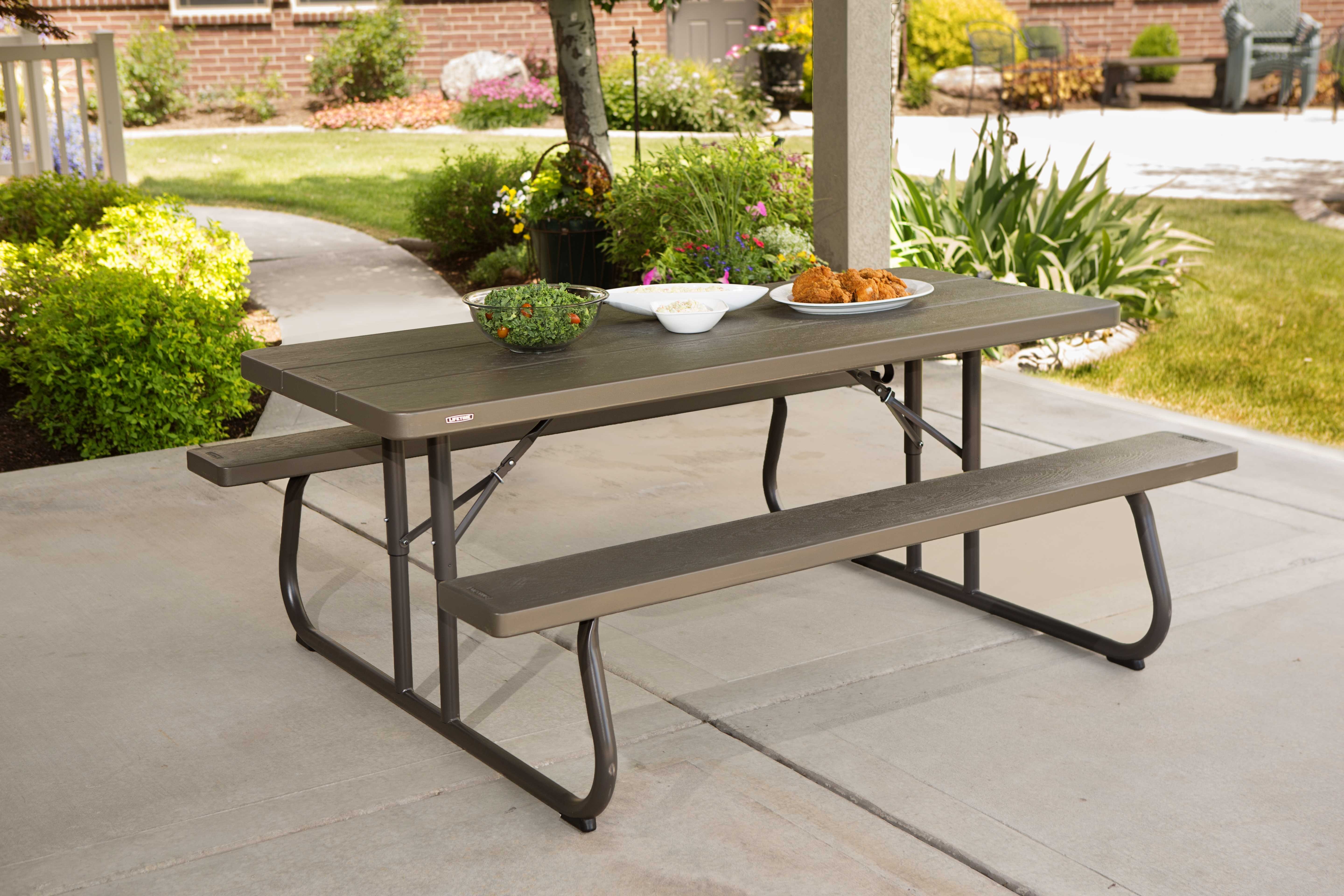 Lifetime Brown Plastic Folding Picnic Table 10 Pack On