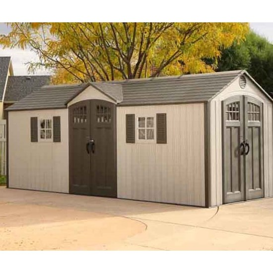 Lifetime Outdoor Storage Shed 60127 20x8 Dual Entry & Lifetime 60127 20x8 Lifetime Shed 734383 on Sale with Fast u0026 Free ...