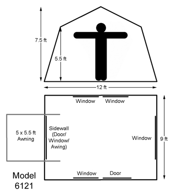 ... assets/images/6121-kodiak-canvas-cabin-tent.jpg · assets/images/6121-Diagram.jpg ...  sc 1 st  Competitive Edge Products Inc & Kodiak Canvas Tent 6121 12 x 9 Cabin Style 6-Person All-Season Camping