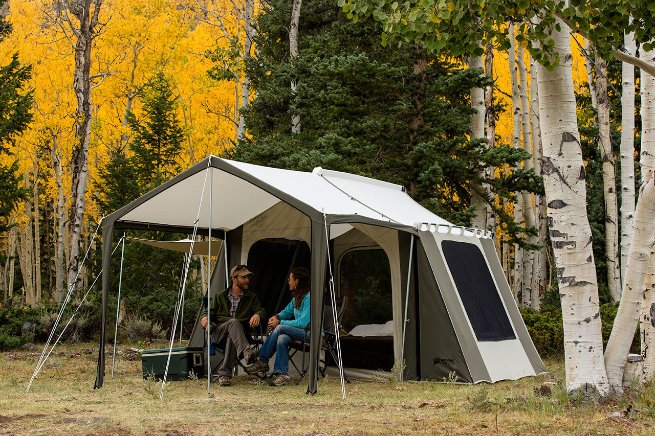 & Kodiak Canvas Cabin Tent 6133 6-Person 9x12 With Deluxe Awning Canopy