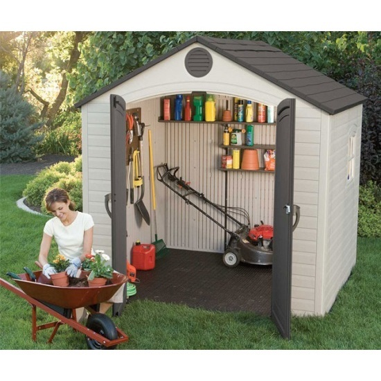 Lifetime 6411 8 x 7 5 lifetime garden shed on sale with for Yard storage shed