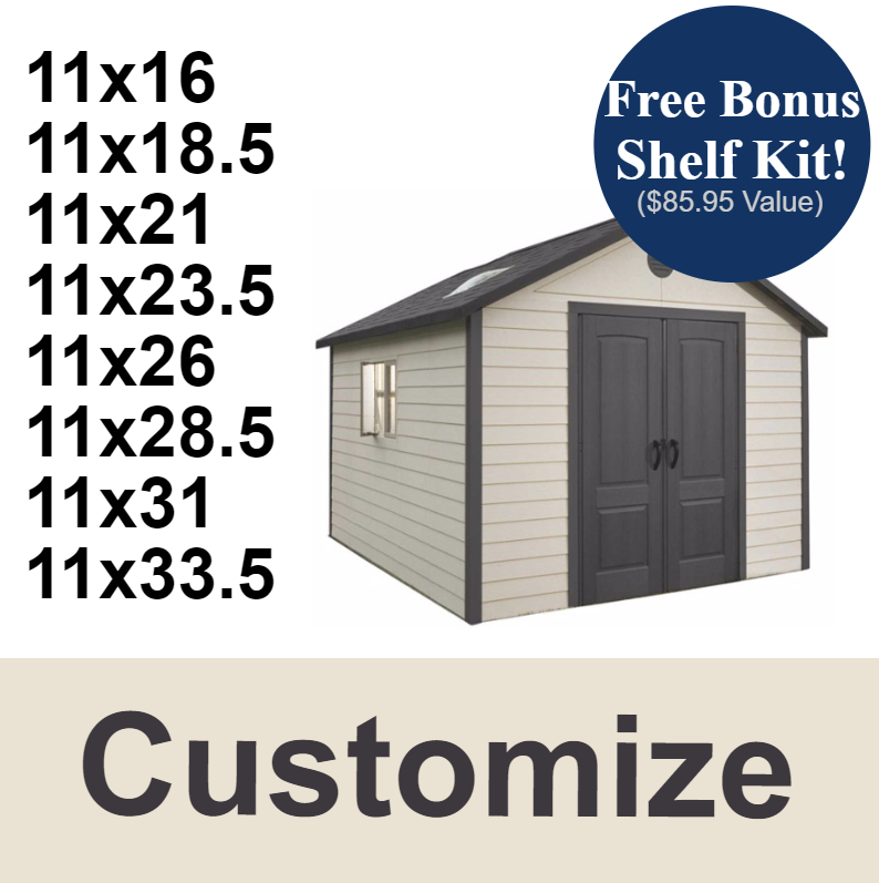 b26e3ff6af3 Customizable Lifetime Outdoor Storage Shed 11x16  Up to 36