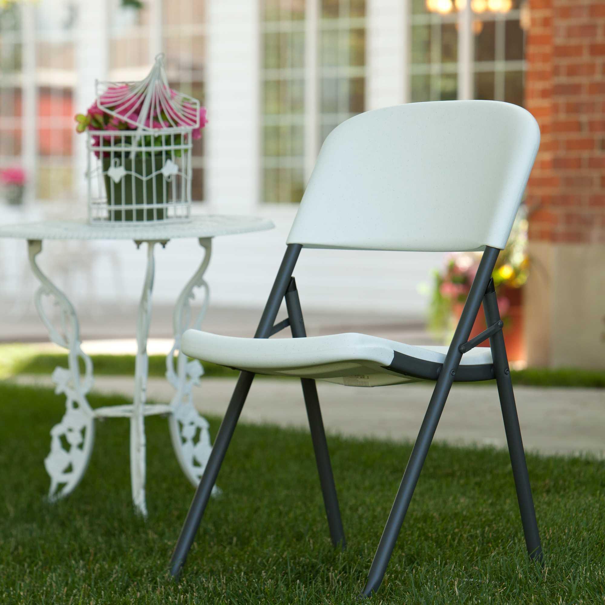 Lifetime Folding Chairs 80155 White Granite Loop Leg