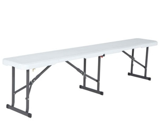 Lifetime Plastic Fold-in-Half Bench White 6-Foot 80309