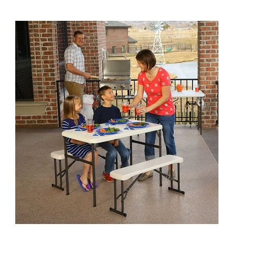 Lifetime Recreational Picnic Table And Benches 80373 Almond