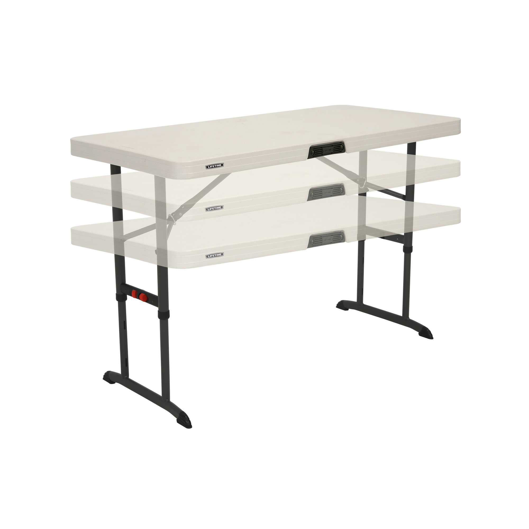 4 Foot Commercial Adjustable Folding Table Almond Lifetime 80387 80370