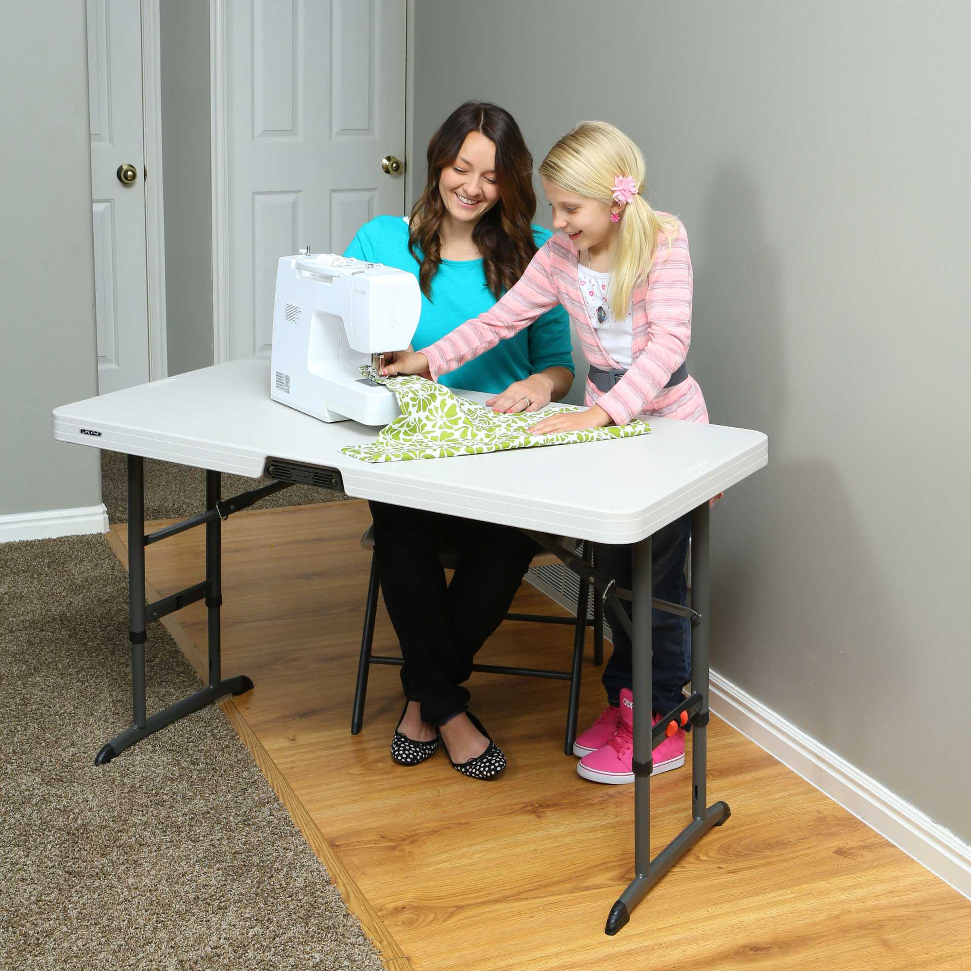4 Foot Commercial Adjustable Folding Table Almond 80370