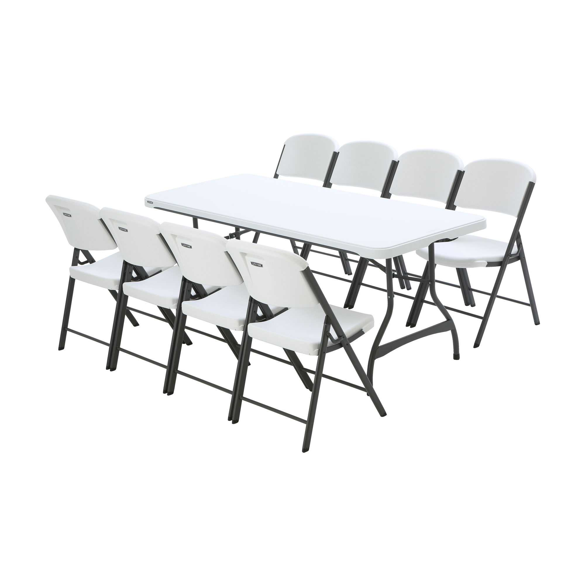 White Tables And Chairs: Lifetime 1 Table And 8 Chair Package On Sale With Fast